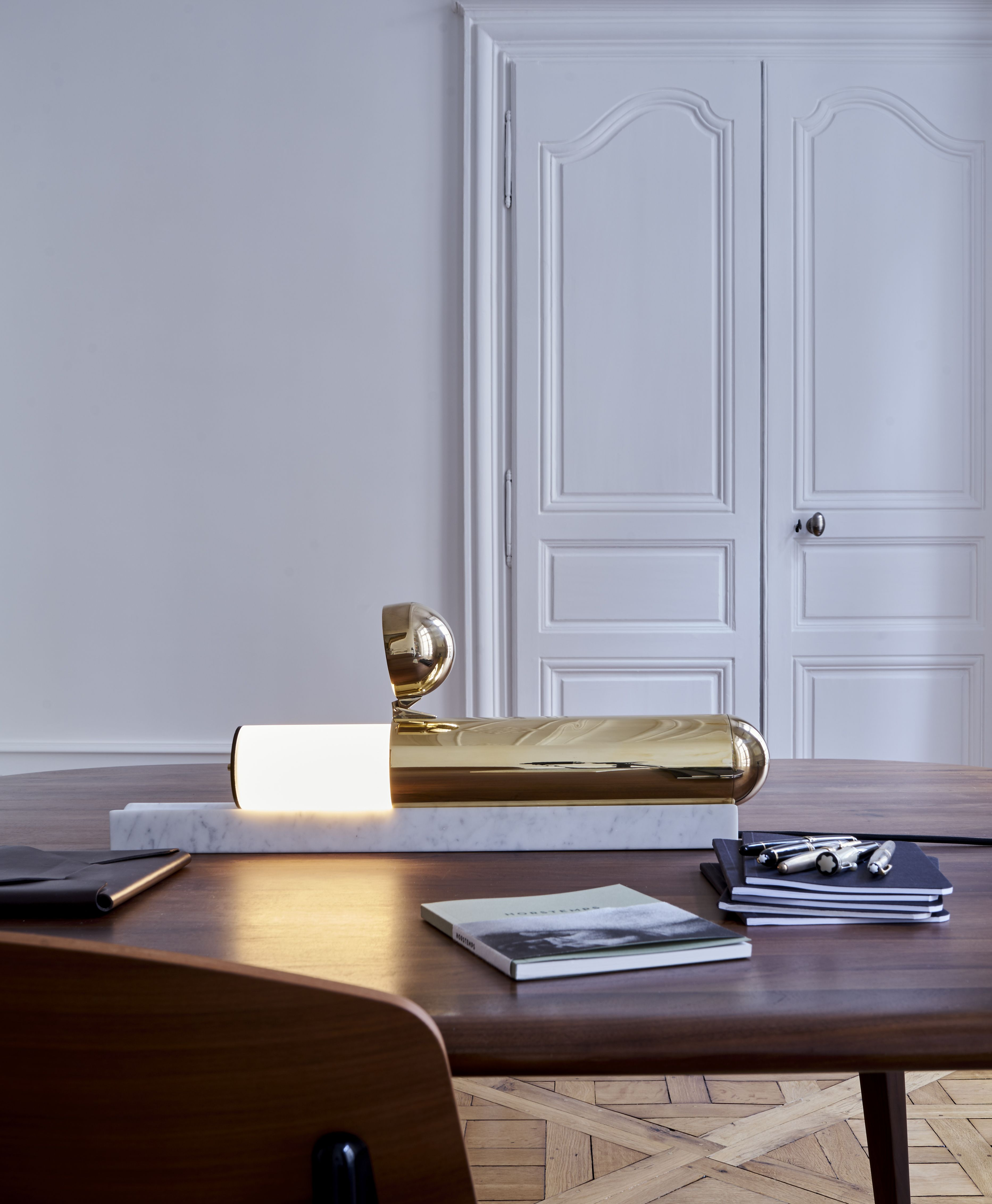 ISP Table Lamp, Made Of Brass And White Marble, Is Designed By Ilia Potemine