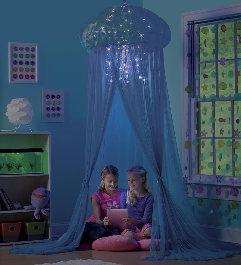 Ocean Blue Bedroom Wall: Aquaglow Light-Up Jellyfish Hideaway Bed Canopy