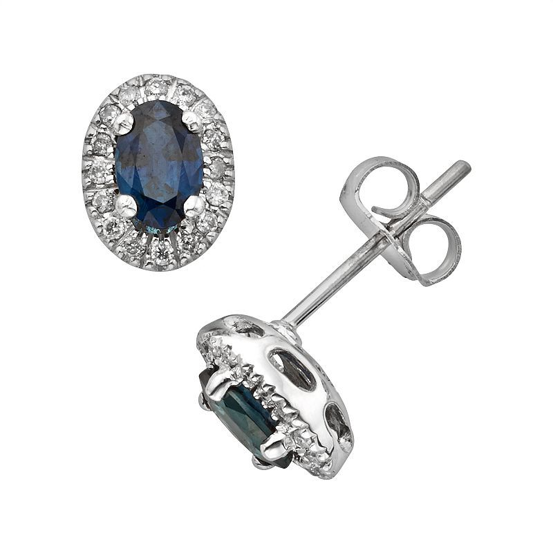 The Regal Collection 14k White Gold Genuine Sapphire and 1/6-ct. T.W. IGL Certified Diamond Frame Stud Earrings, Blue