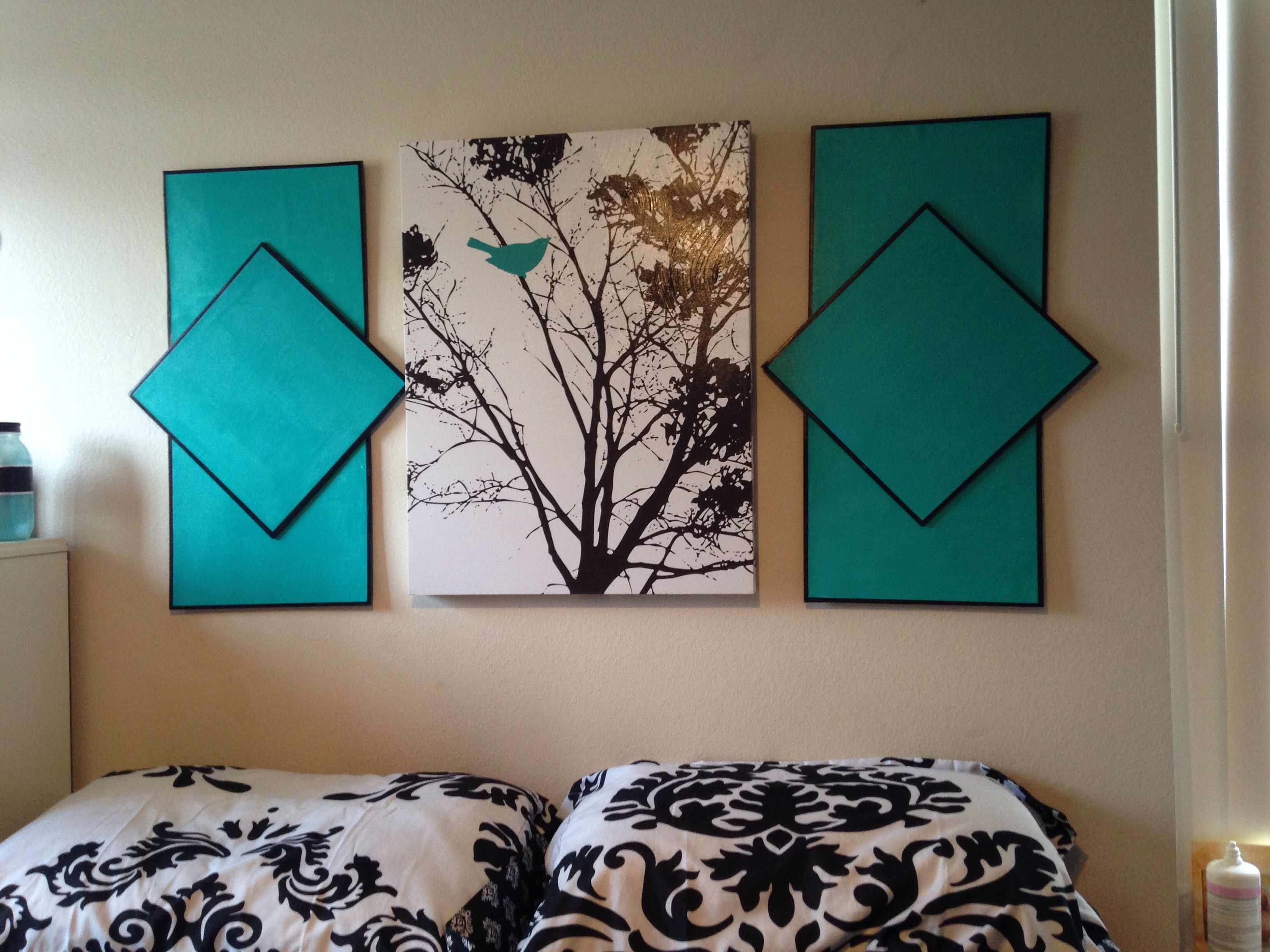 DIY headboard! Bought the middle picture from hobby lobby