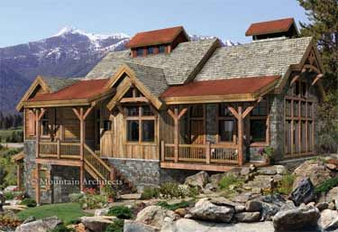wood and stone siding | rooflines and combination of stacked stone