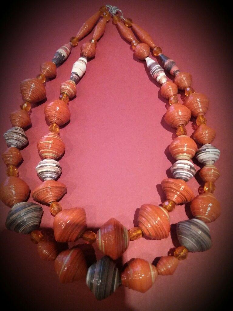 Orange beads, 100% paper!  Visit my shop Ca-Ia.alittlemarket.it