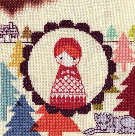 Little Red Hood Cross Stitch Kit by alexkamiya on Etsy, $28.00