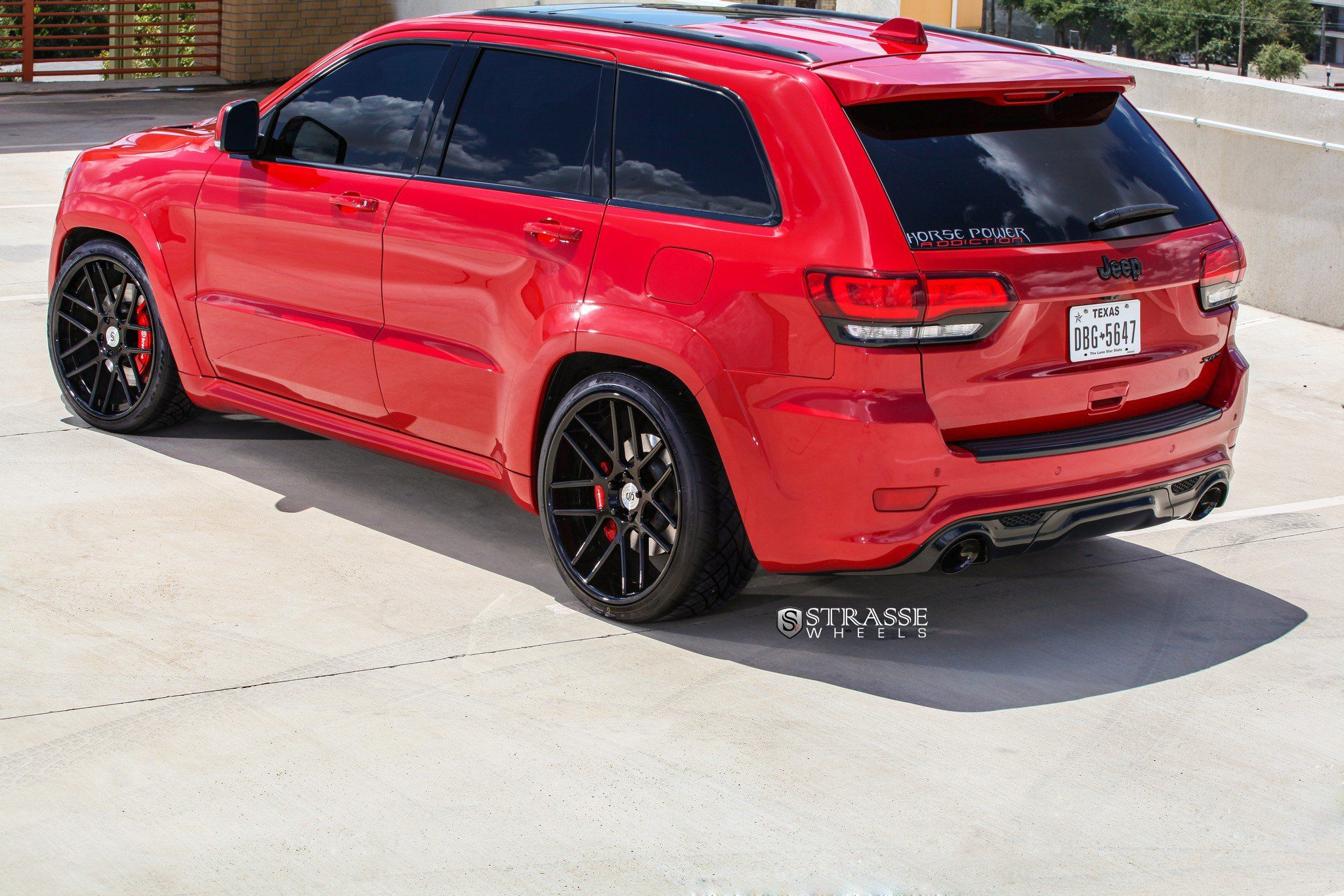 Red Jeep Grand Cherokee On Gloss Black Strasse Wheels Featuring
