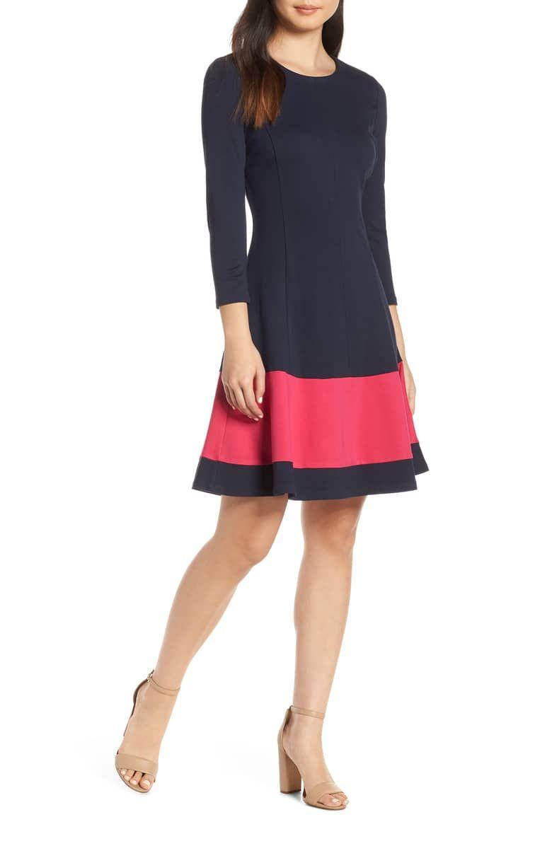 Eliza J Colorblock Stripe Fit Flare Dress Regular Petite Nordstrom Fit Flare Dress Flare Dress Dresses [ 1196 x 780 Pixel ]