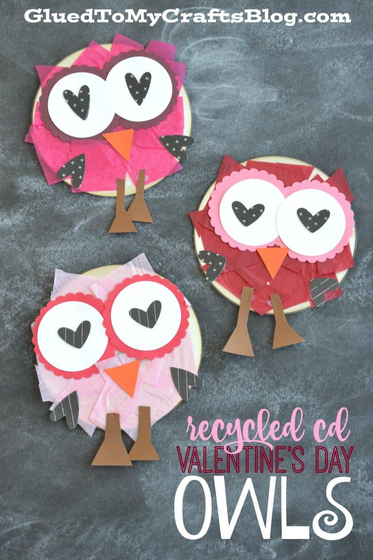 Recycled CD Valentine's Day Owls - Kid Craft #recycledcd