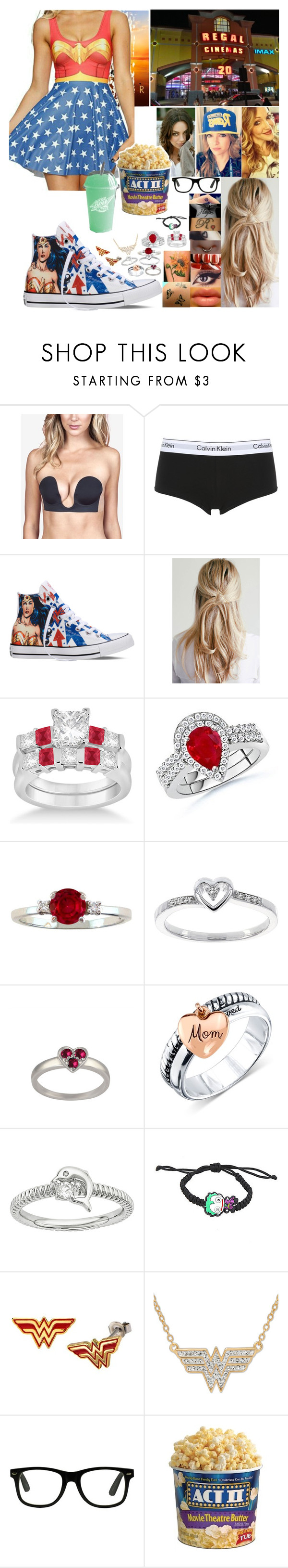"""Wonder Woman"" by spidey31 ❤ liked on Polyvore featuring Fashion Forms, Calvin Klein Underwear, Converse, Allurez, Modern Bride and Unwritten"