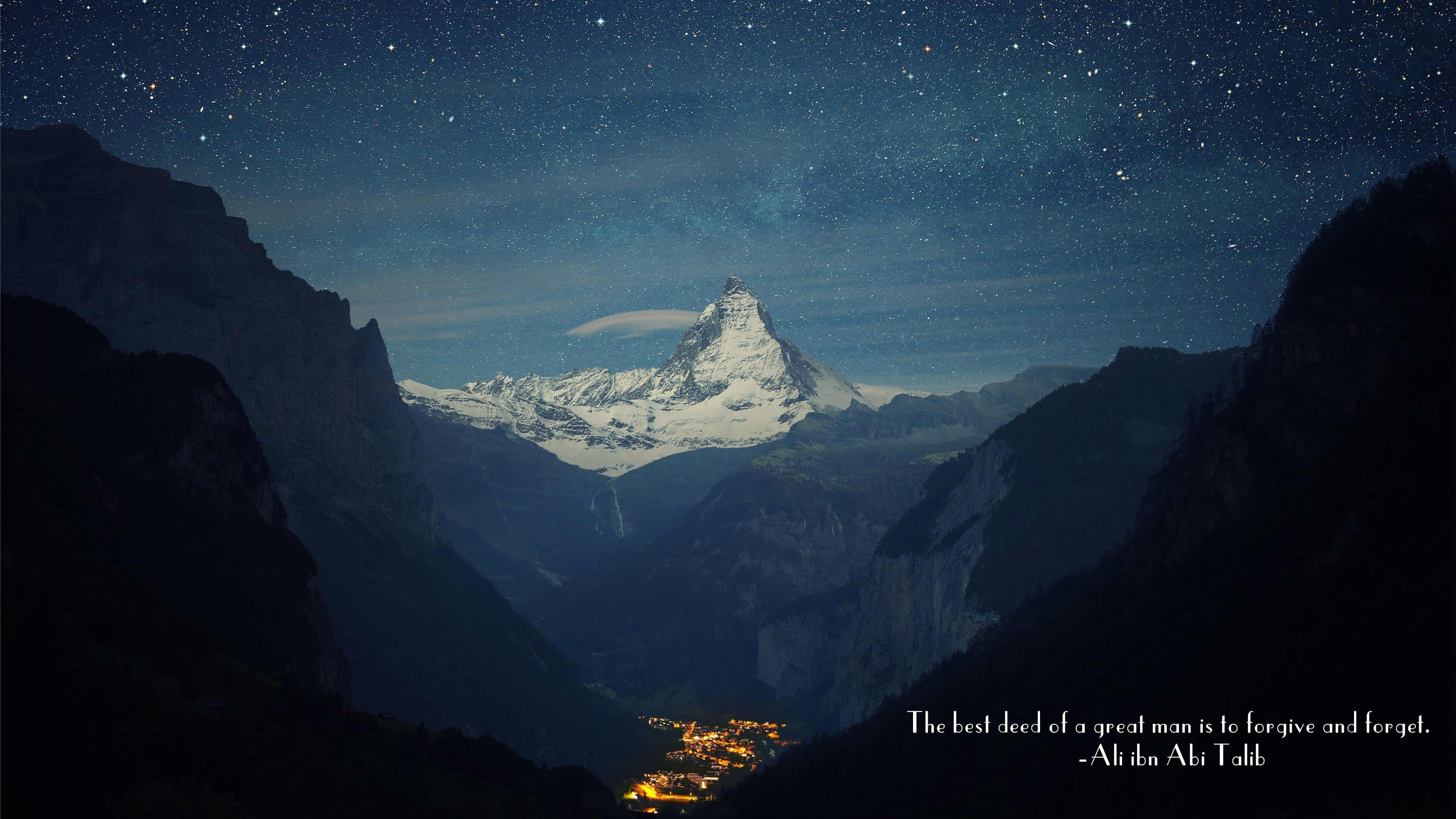 Ali Ibn Abi Talib Imam Islam Quote Mountain Pass Mountain Town Stars Wallpaper No 232 Switzerland Alps Mountain Wallpaper Matterhorn Mountain