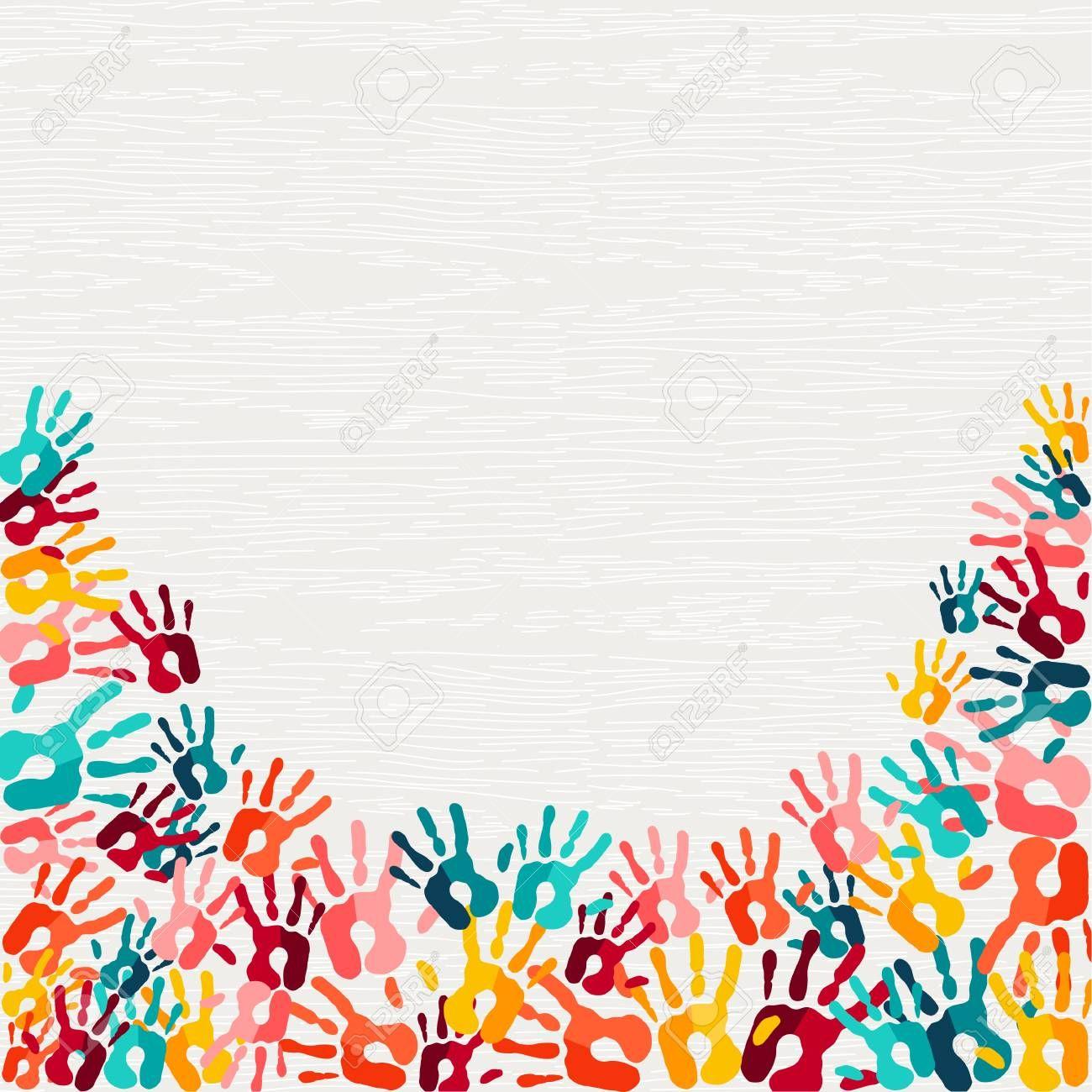 Human Hand Print Color Background Colorful Children Paint Handprints Illustration For Social Community Education Or Teamwork Concept Vector Aff Colorfu