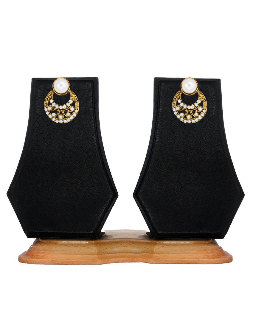 Zaveri pearls crescent shaped stud earring zaveri pearls jewellery