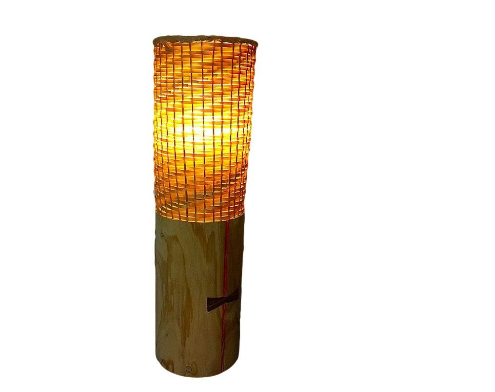 Bamboo and wood table lamp