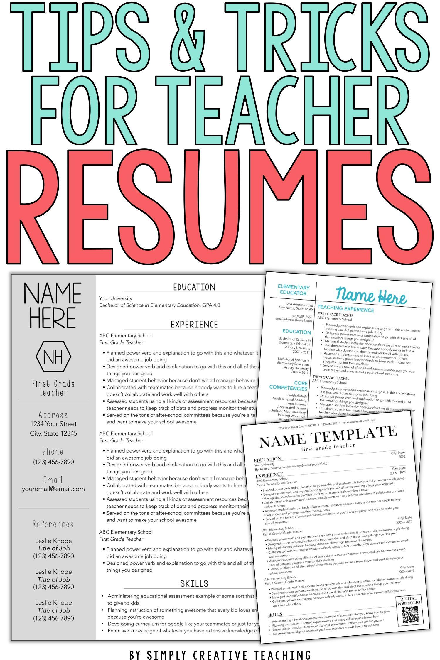 teacher resume tips  u0026 tricks