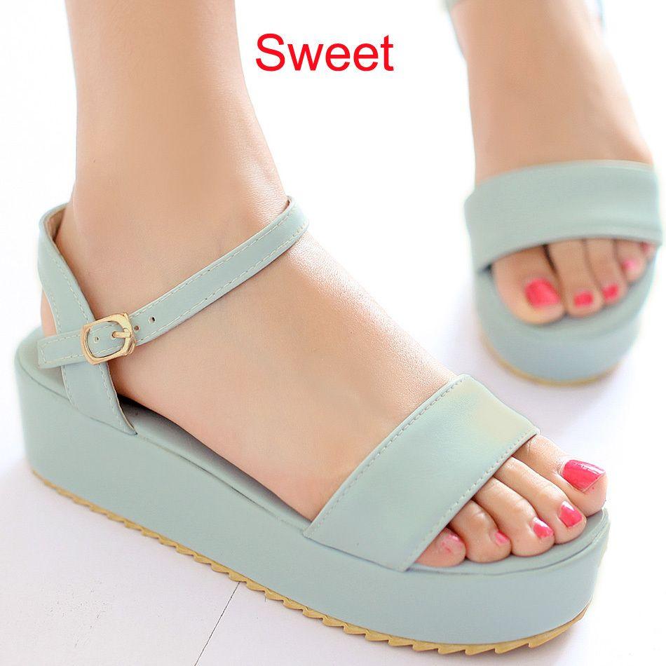 Sweet Candy Color Heel Flat Platform Thick High Heel Color Sandalo for Donna   476808