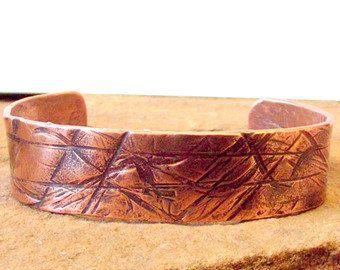 Unisex Wide Copper Cuff Bracelet- Hand Textured Copper Cuff by ElationsJewelryPlus on Etsy