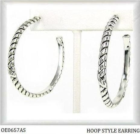 Earrings Designer Inspired Textured Silver Tone Hoops Oe0657as By Teachergifts 16 95 These David Yurman