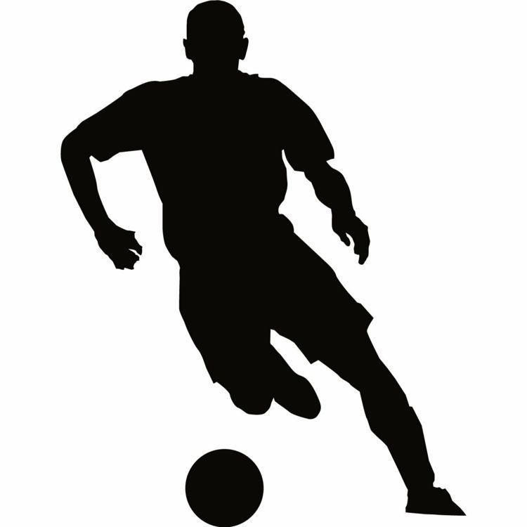 wandschablonen ausdrucken fussballspieler ball junge kinderzimmer jugendzimmer silhouette. Black Bedroom Furniture Sets. Home Design Ideas