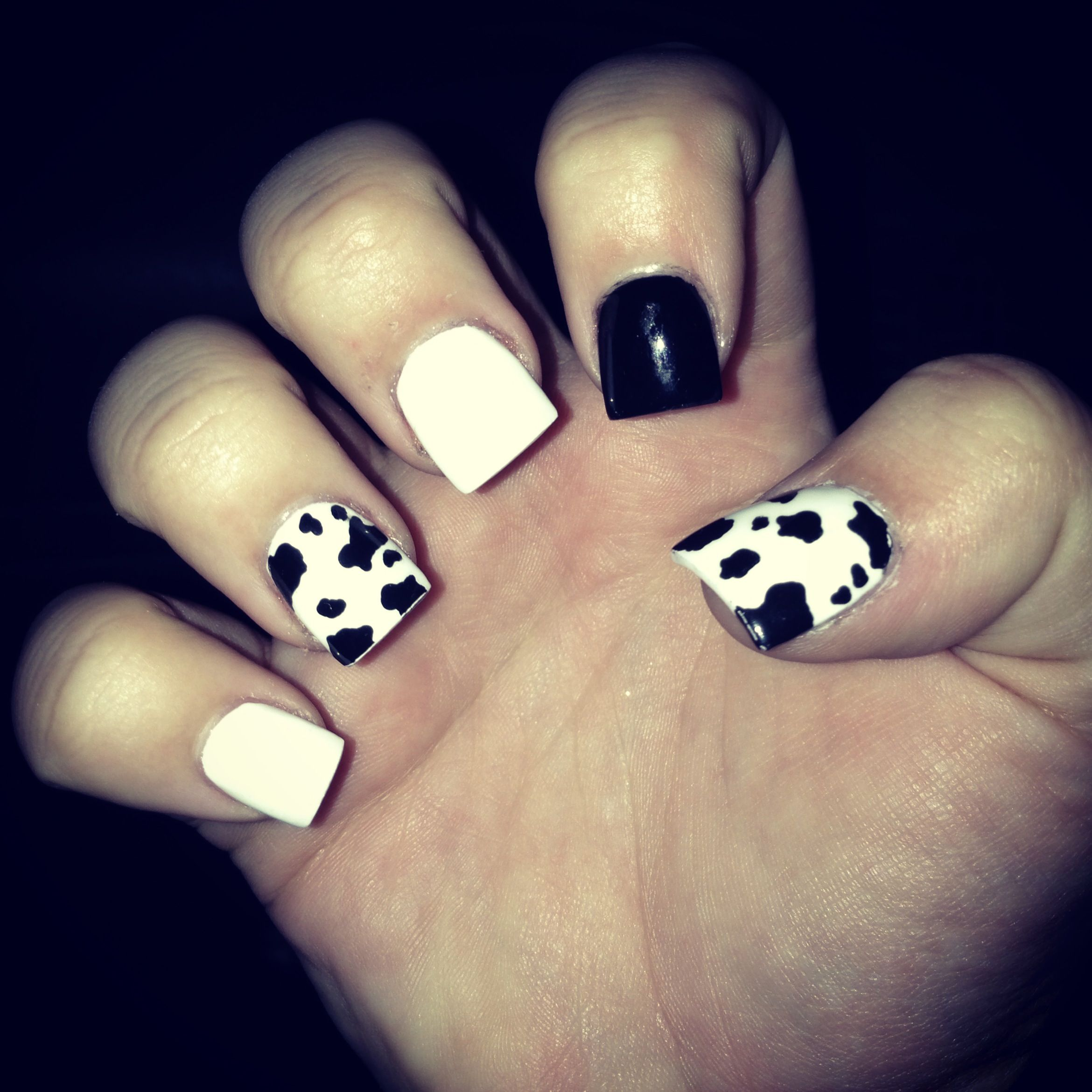 Nail Cake Blue Black Splodges Cow Print: Country Nails..