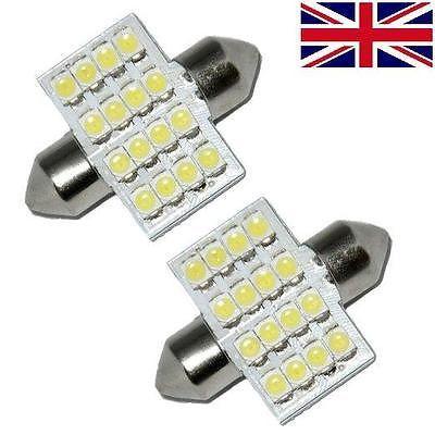 2 x White 16 SMD LED Car Interior Festoon Dome Light Bulbs 31mm