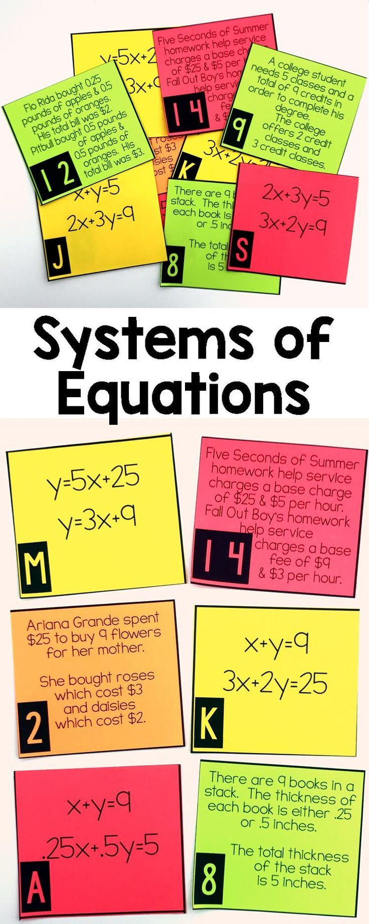 Systems of Equations Word Problem Matching Cards (With