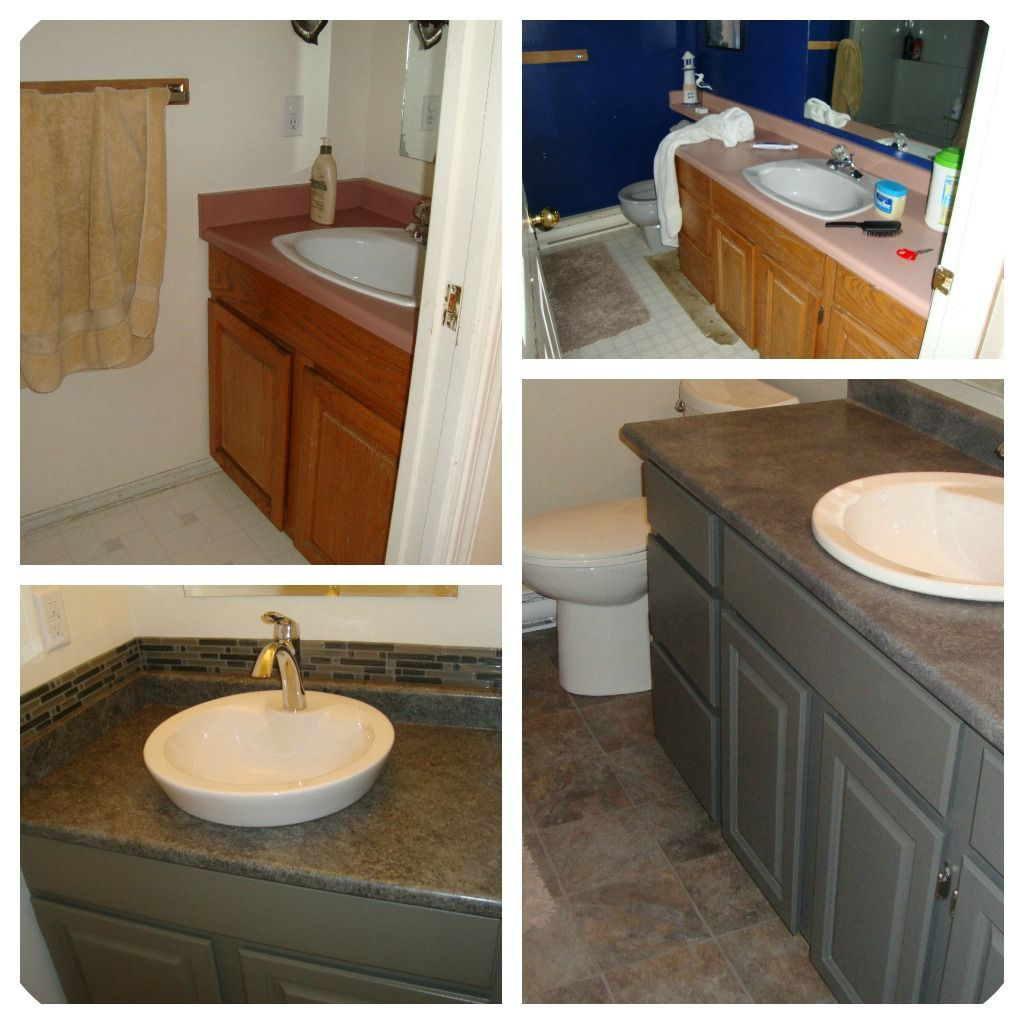Painted Wood Furniture And Cabinets Before And After Ideas Oak Bathroom Cabinets Bathroom Vanity Redo Laminate Cabinets