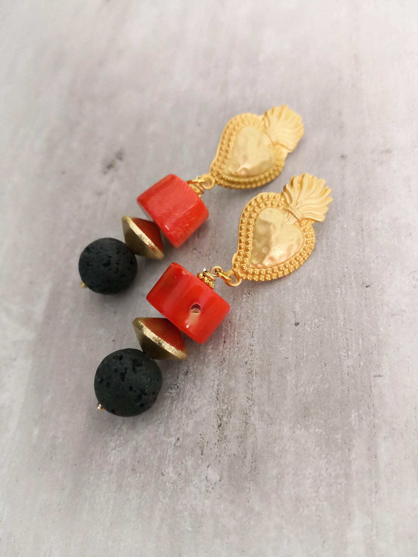 2 Perle goccia nera in pietra dura per crazione bijoux black stone drop 30*20mm