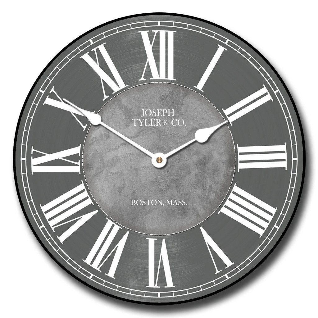 nice design quiet wall clock. Waterford Gray Wall Clock  Available in 8 sizes Most Sizes Ship 2 3