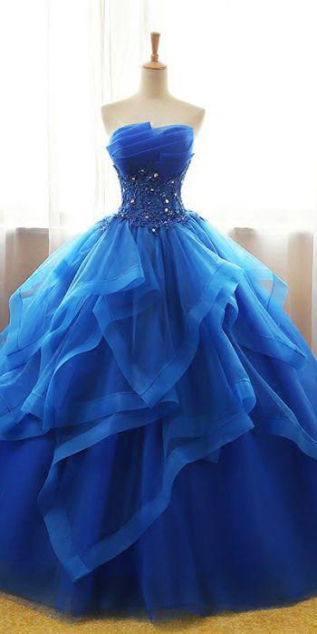 Chic Ball Gowns Strapless Royal Blue Beading Applique Long Tulle Prom Dress Evening Dress OHC279
