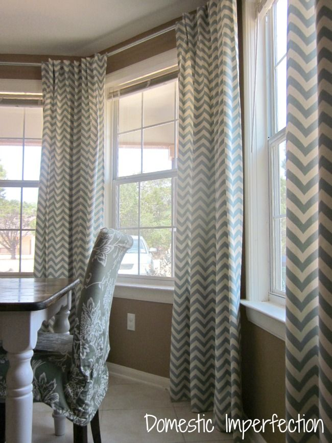 Chevron Curtain Diy Bay Window Curtain Rod U0026 Back Tab Curtains U2014  Domestic Part 36