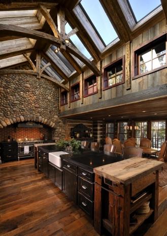 看看廚房櫃子上面到天花板    是不是也可以鑲上花園的石板 ?