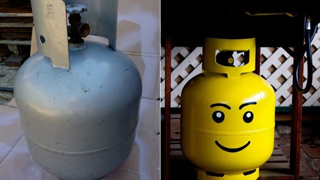 Turn your propane tank into a gigantic Lego head... you could probably use the same idea for a helium tank, too!  Too cute!