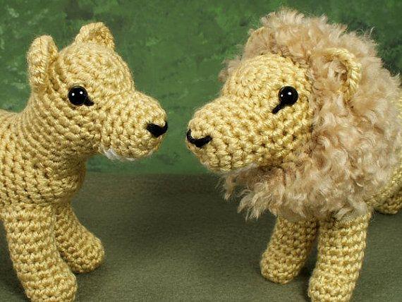 Lion Crochet Pattern Amigurumi : Pdf lion and lioness two amigurumi crochet patterns amigurumi