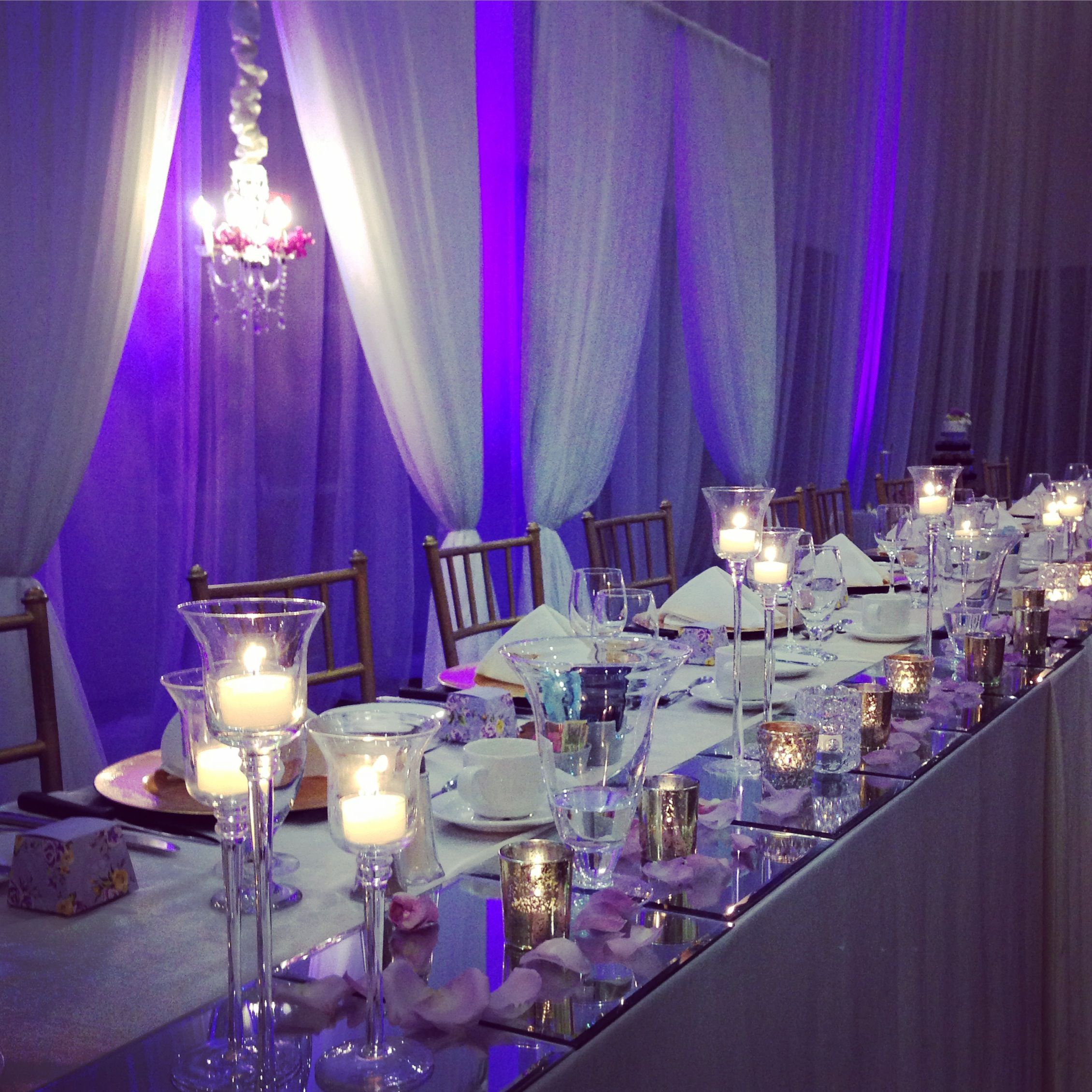 Purple And White Wedding Candles Mirror Rose Petals Backdrop