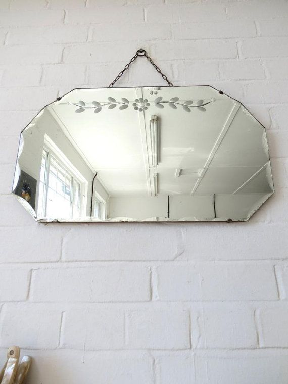 Vintage Art Deco Bevelled Edge Wall Mirror With By