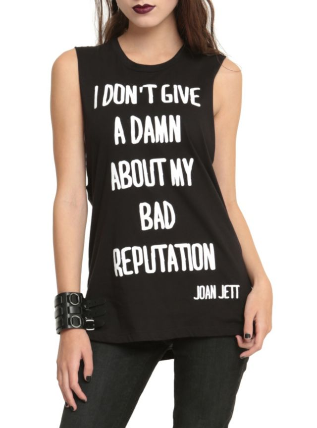 "Black sleeveless top from Joan Jett with ""Bad Reputation"" quote design."