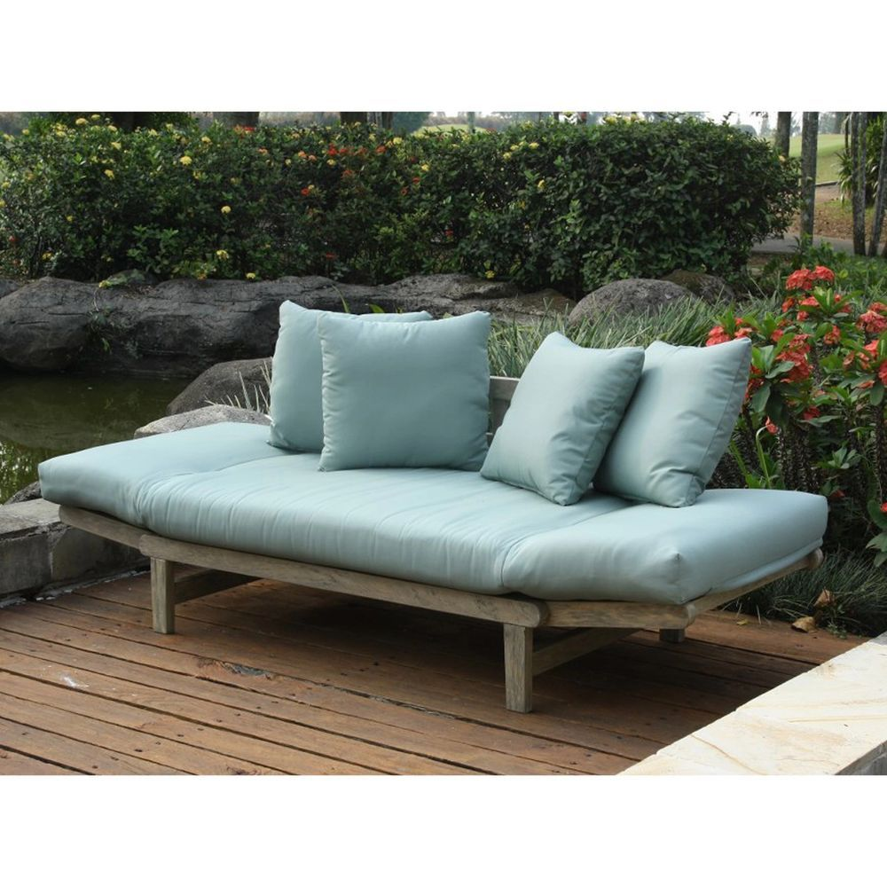 Outdoor Sofa Bed Casual West Lake Spruce Blue Convertible Patio