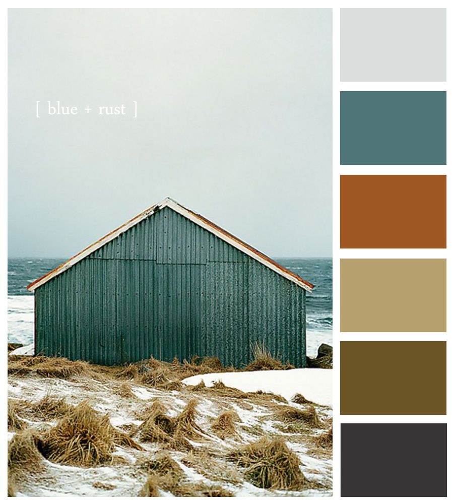 Colour palette iced blue muted teal copper dark cream - Grey and brown colour scheme ...