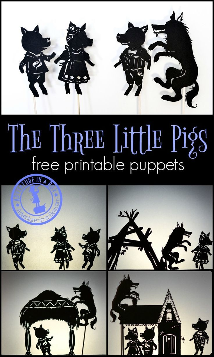 Three Little Pigs: Shadow Puppet Play with Free Printables | Shadow ...