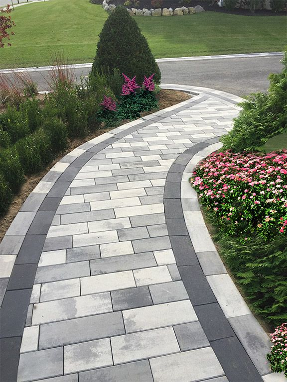 Plank Paver Shown In Granite City Blend Pewter Raven Walkway Nicolock Paving Stone Front Yard Landscaping Design Walkway Landscaping Pathway Landscaping