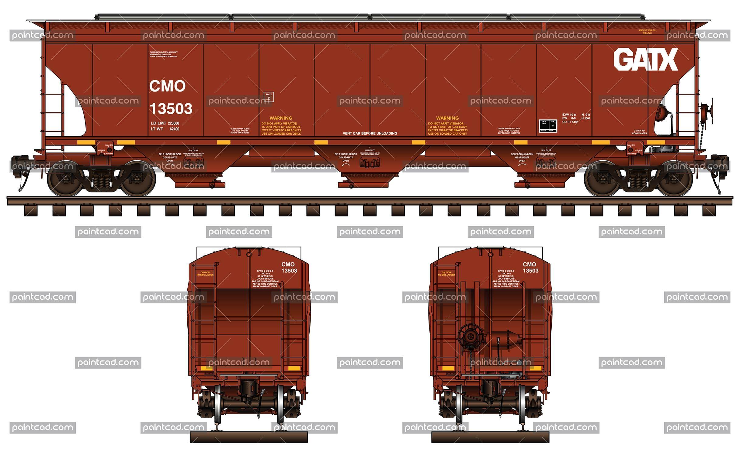 3 Bay Covered Hopper Car In Red Livery Of Cmo Gatx Railway Railway Train Drawing Model Railroad