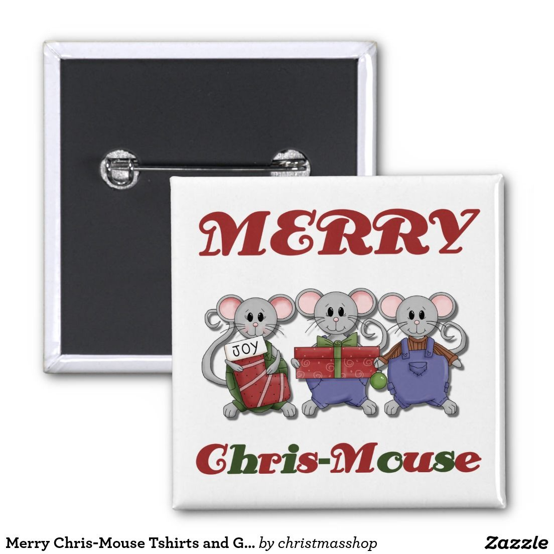 Merry Chris-Mouse Tshirts and Gifts 2 Inch Square Button