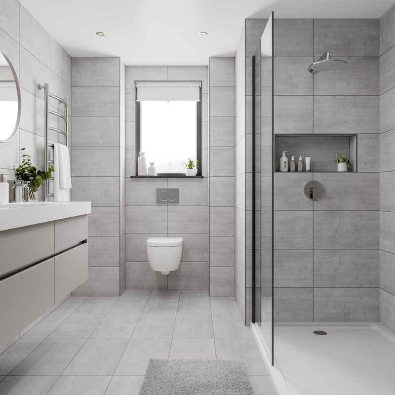 Shala Light Grey Stone Effect Flat Matt Wall And Floor Tile 300mm