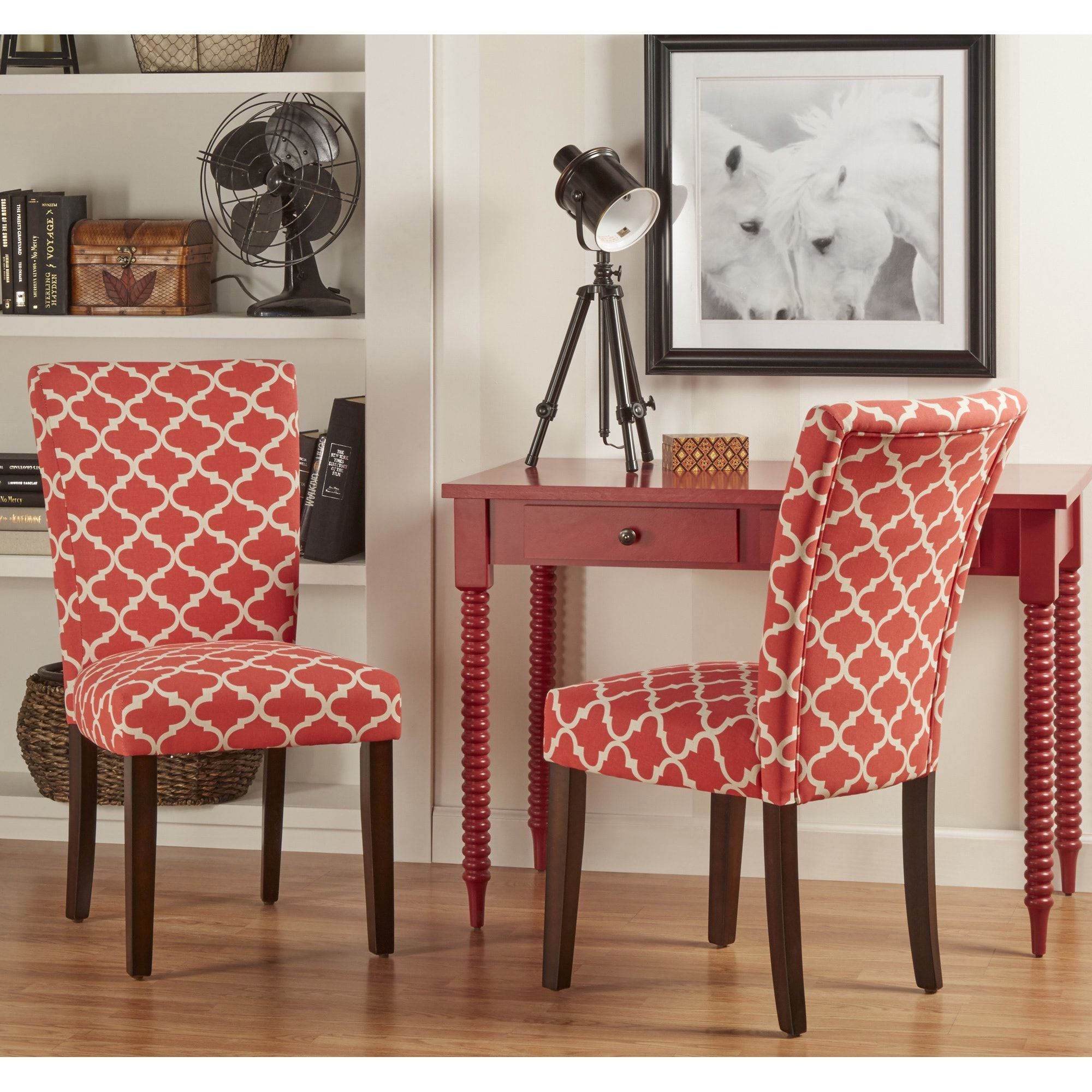 Catherine Moroccan Pattern Fabric Parsons Dining Chair Set Of 2 By Inspire Q Bold Red