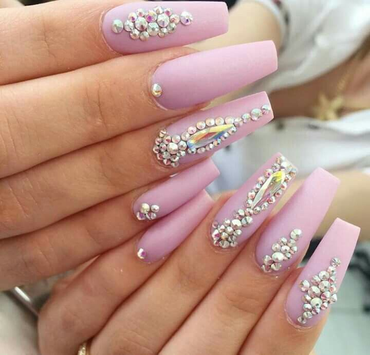 Pink Nails Rhinestones Rhinestone Nails Nail Designs Coffin Nails Designs