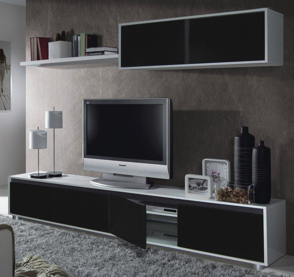 Living Room Furniture White Gloss aida tv unit living room furniture set media wall black on white