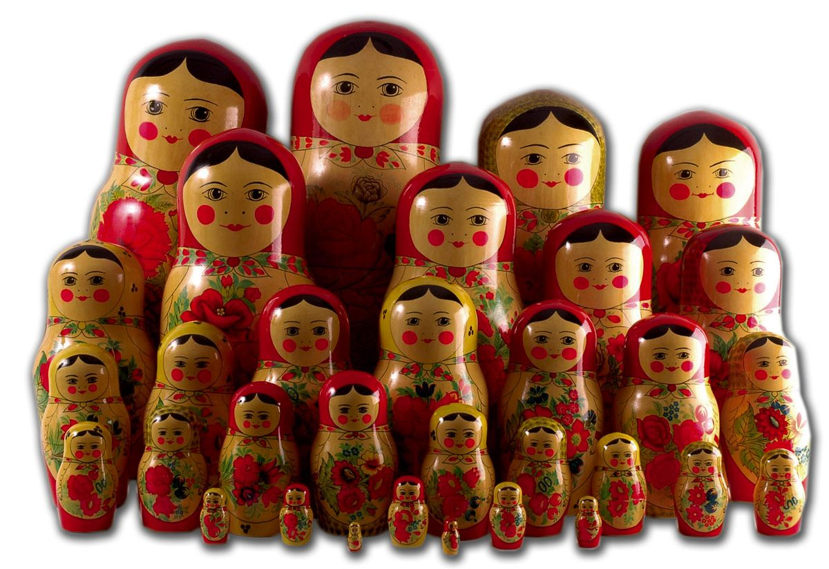 Own a set of Russian nesting dolls that goes to little itty bitty sizes.