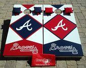 Atlanta Braves Cornhole set with two boards, 4 red, 4 navy bags, bag tote and rules