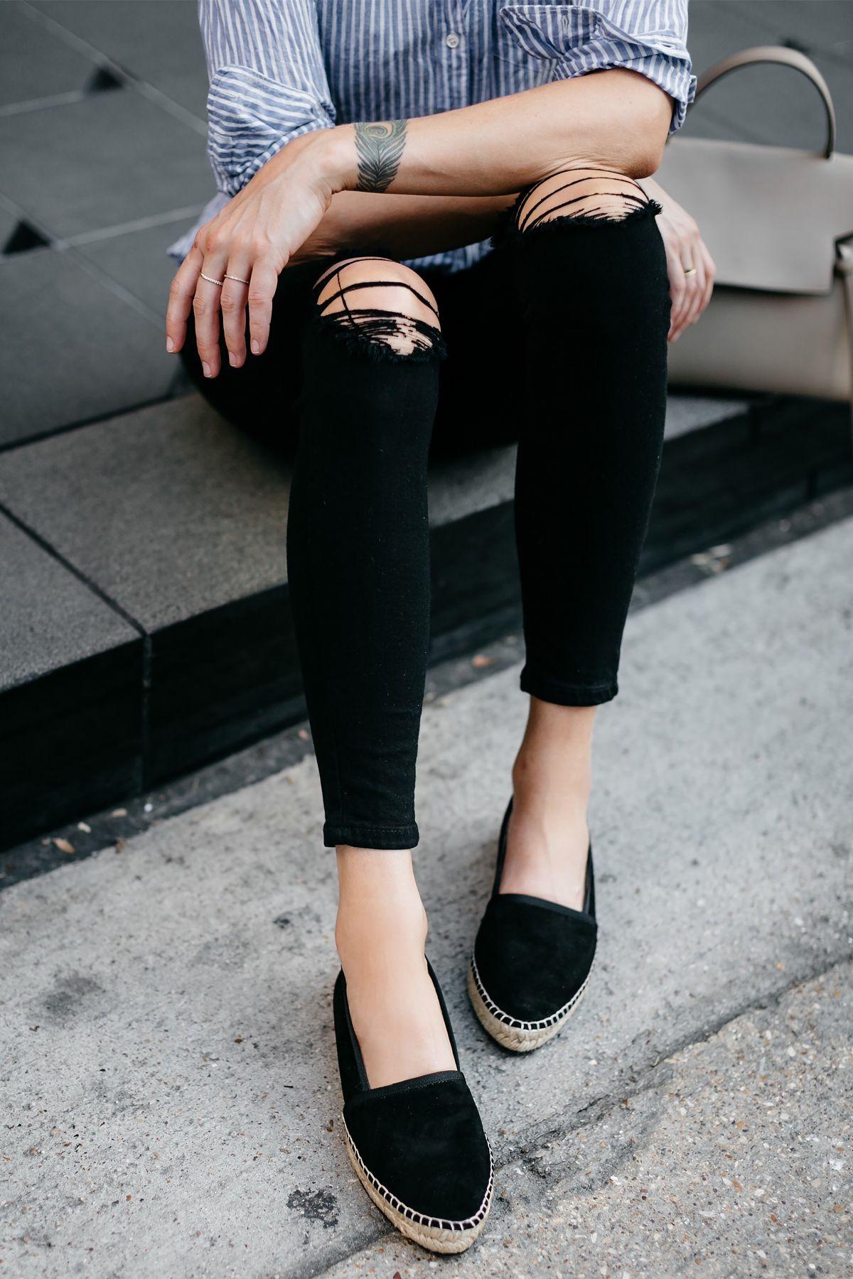 Stripe Shirt Black Ripped Skinny Jeans