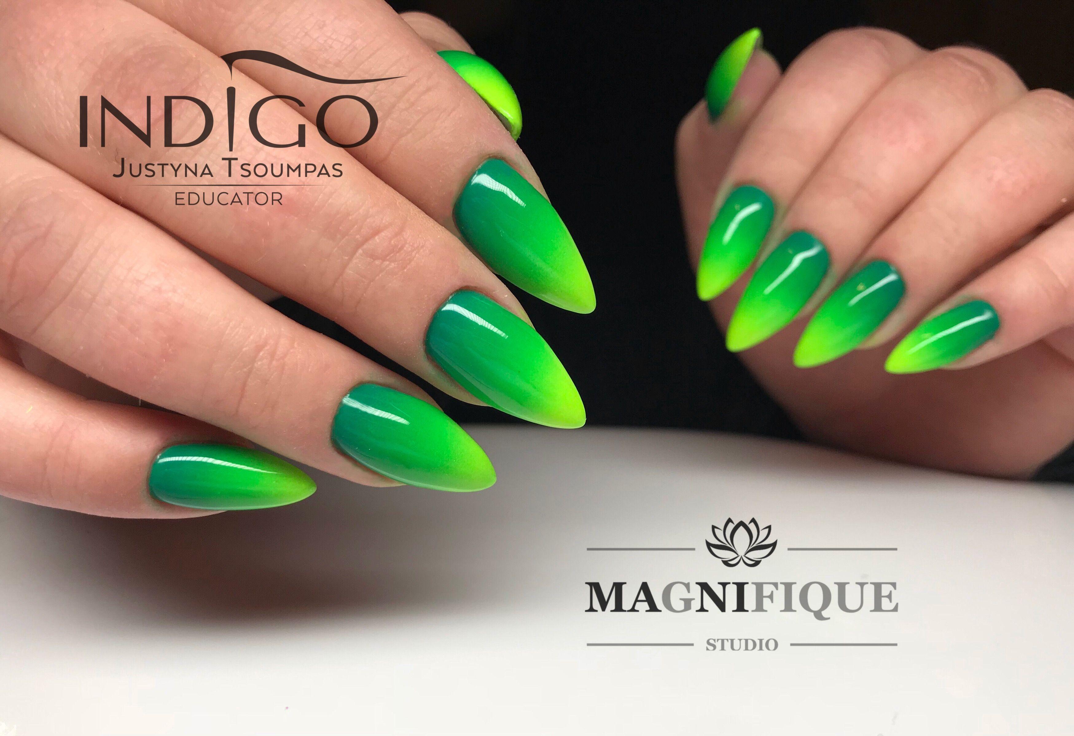 Green ombre Nails spring nail Art Indigo Nails Arte brillante gel ...