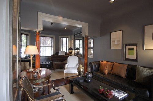 Charcoal Walls Brown Leather Furniture Design Pictures