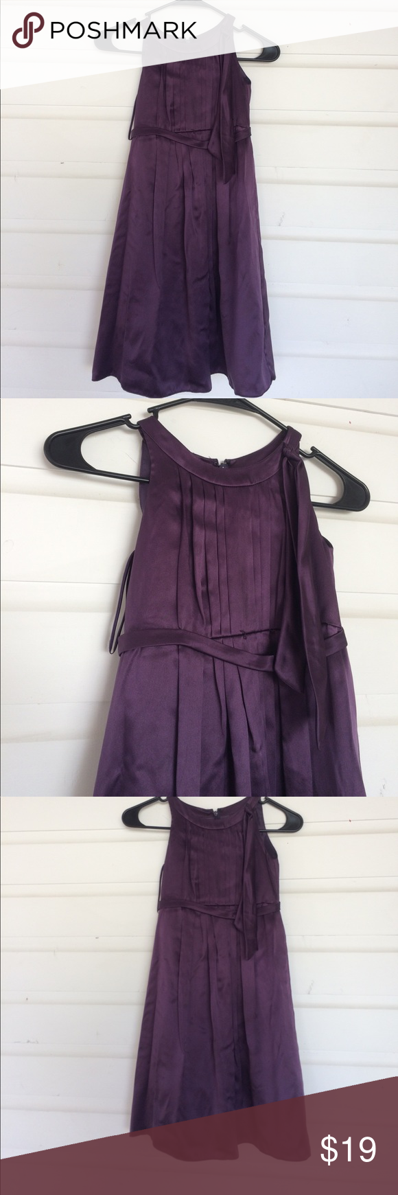 Melissa Sweet Purple Flower Girl Holiday Dress This dress would be perfect for a laid back wedding or dressy event. No stains. Pulling at belt, needs an iron. Poly satin, lined. Pleated bodice. Great for dress up or any party where she wants to be pretty but still be a kid. Size 7. Offers always warmly received. Melissa Sweet Dresses Formal